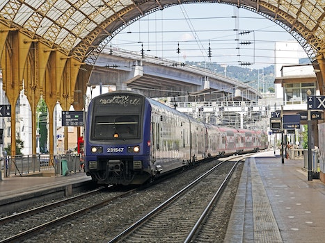 Blue and Gray Train on Station during Daytime