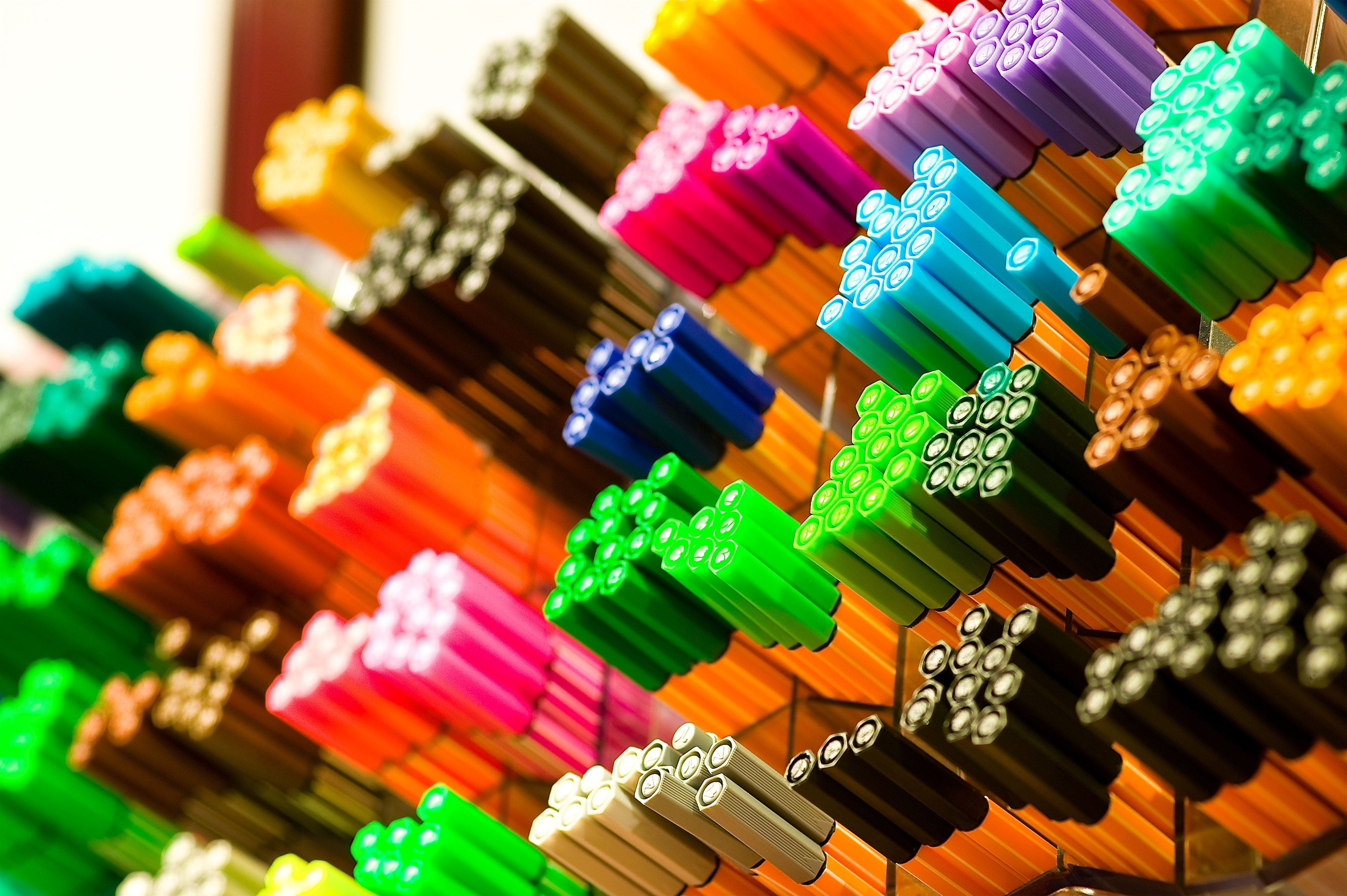 Focus Photography of Colored Pens