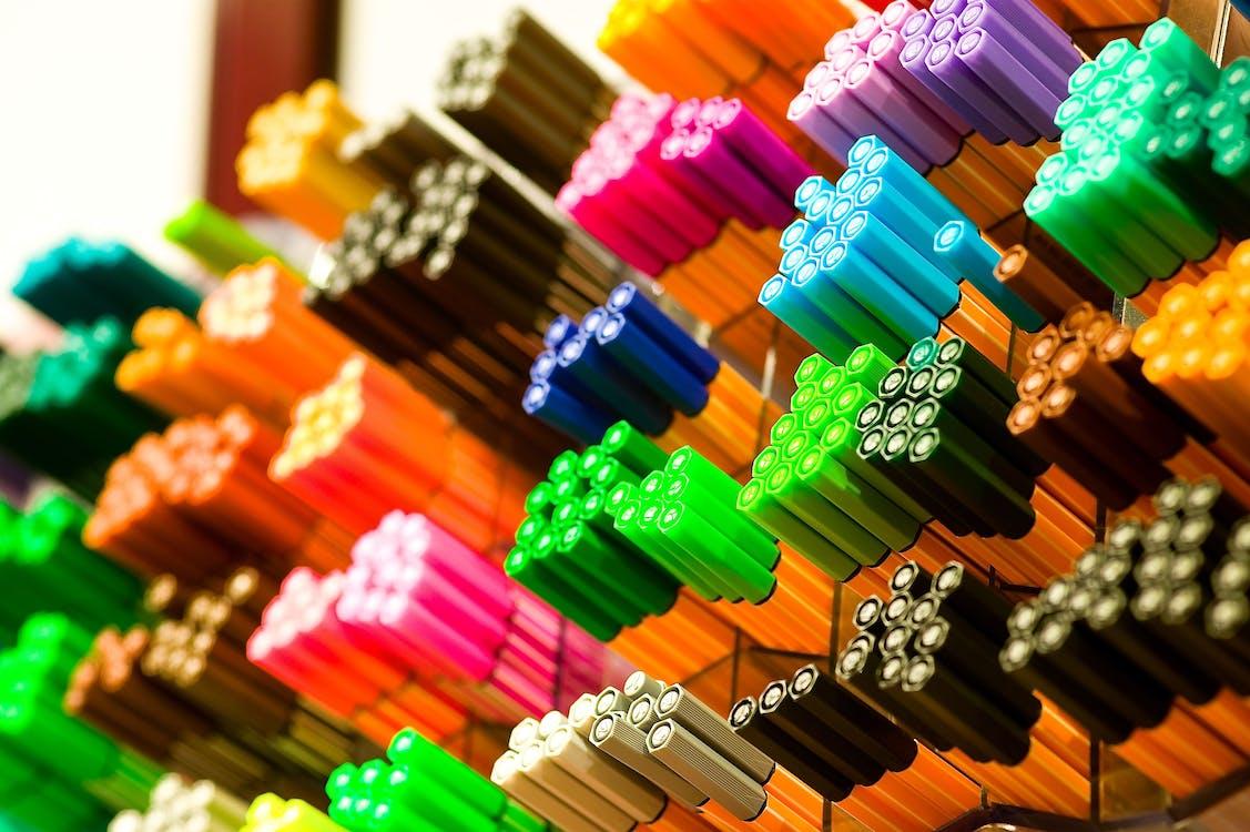 makro, mürekkepli kalemler, rengarenk