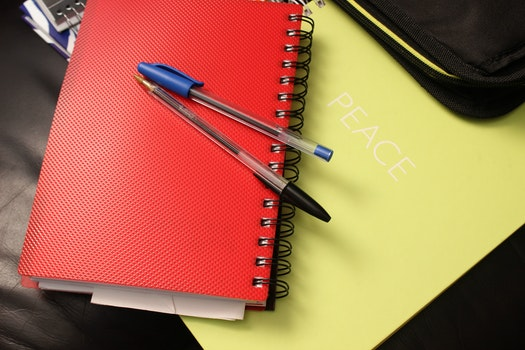 Blue and Black Ball Point Pens on Red Hand Book