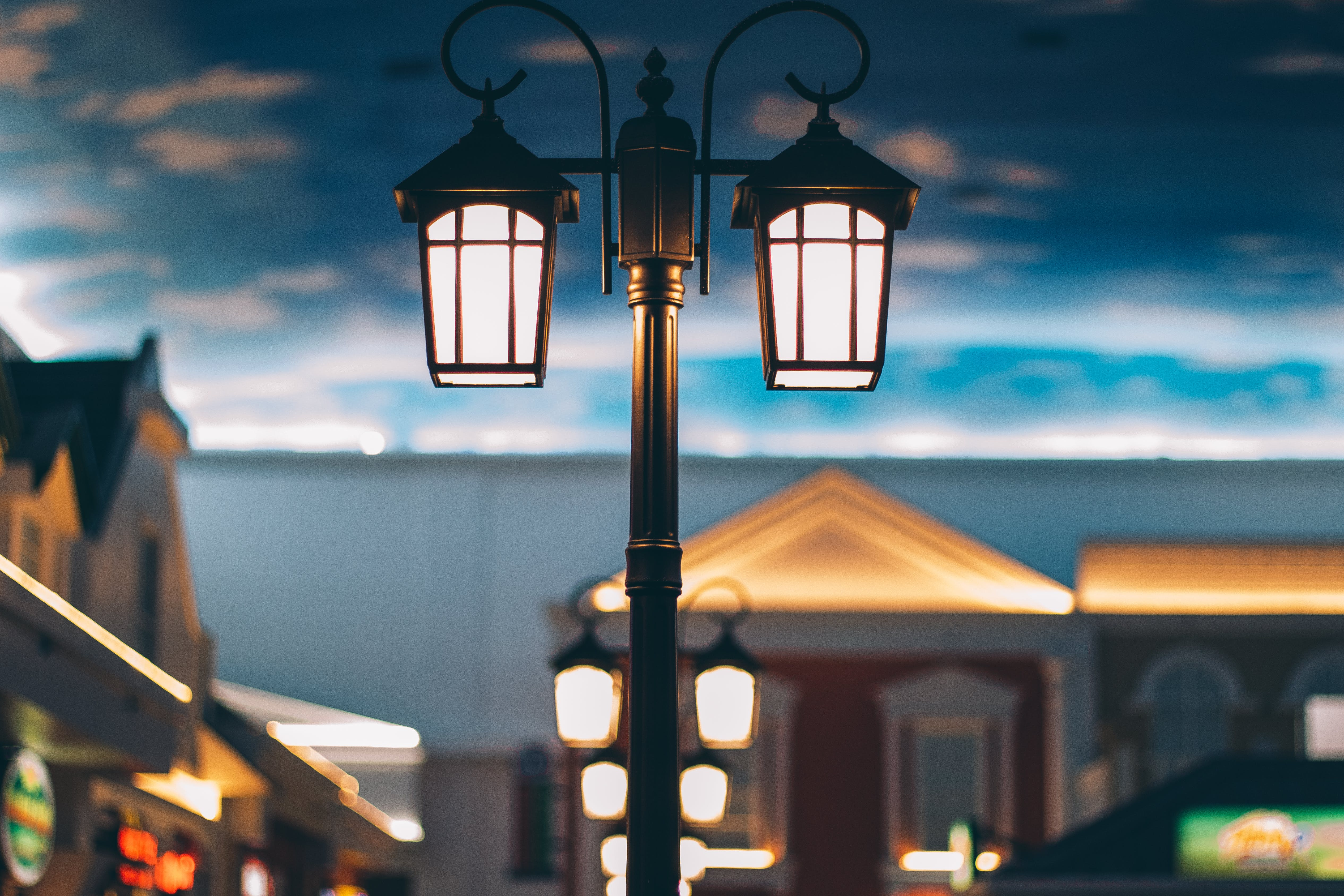 Close-Up Photo of Street Lamps