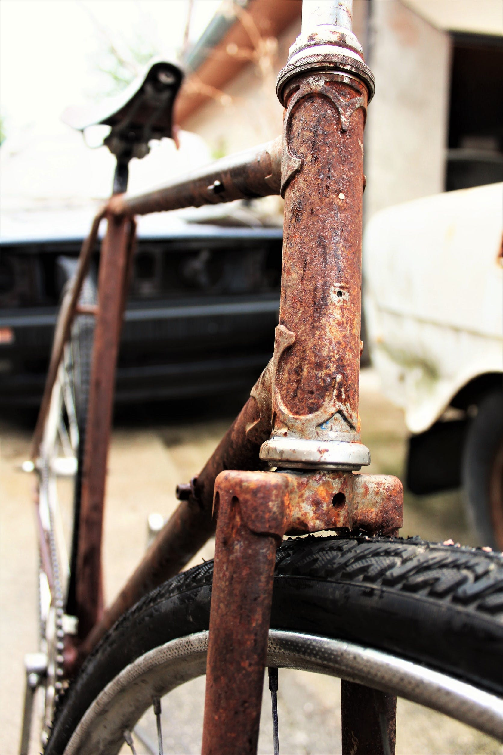 Close-up Photo of Rusted Bicycle Body Frame