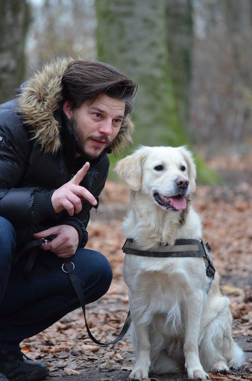Man Wearing Black and Brown Fur Hoodie Jacket and Blue Pants Holding Dog Leash Beside White Short Coat Dog