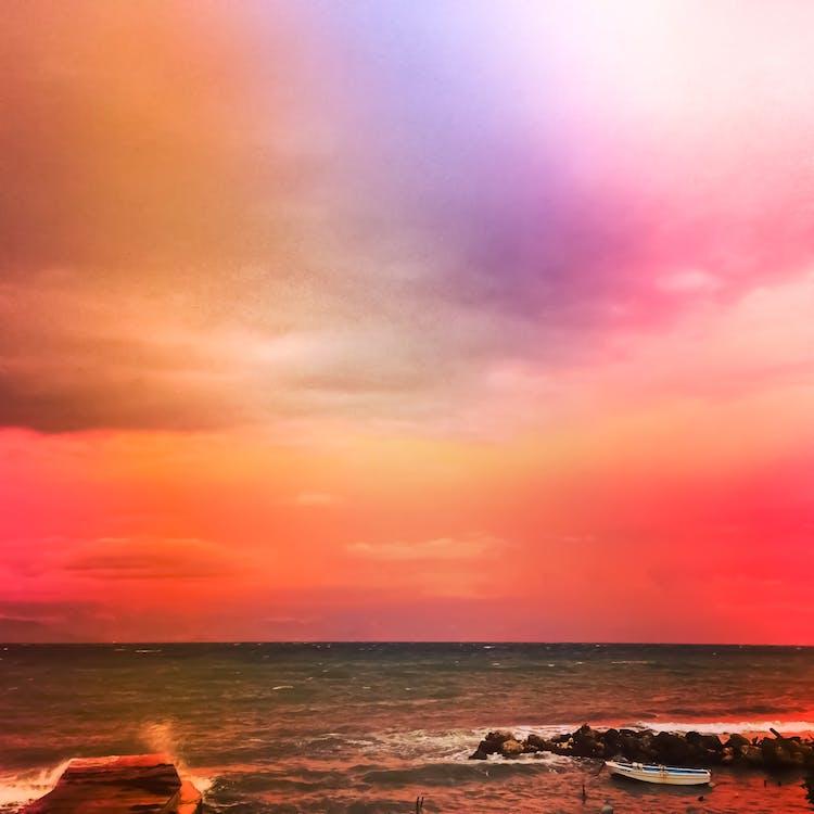 kapal, kehidupan laut, langit malam