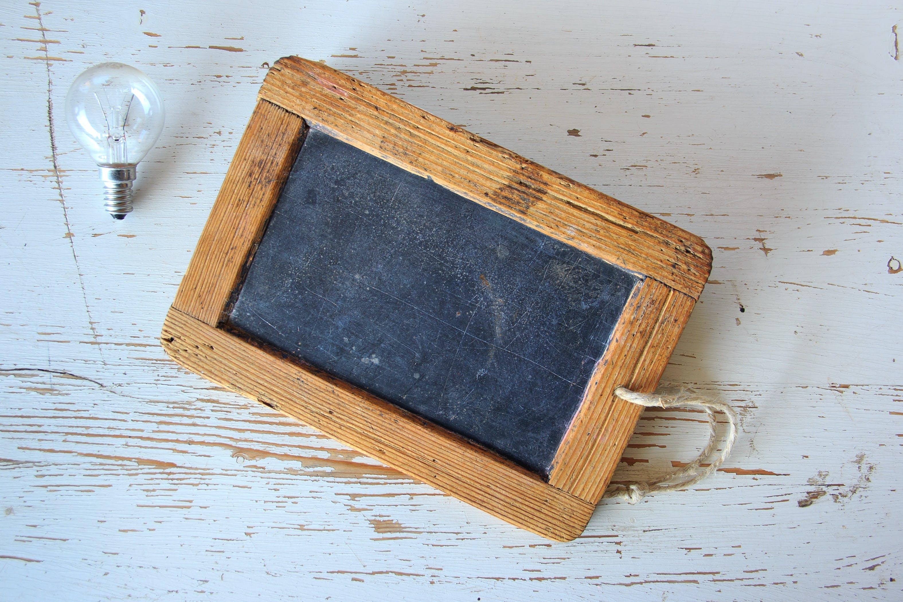 Brown Wooden Framed Chalkboard