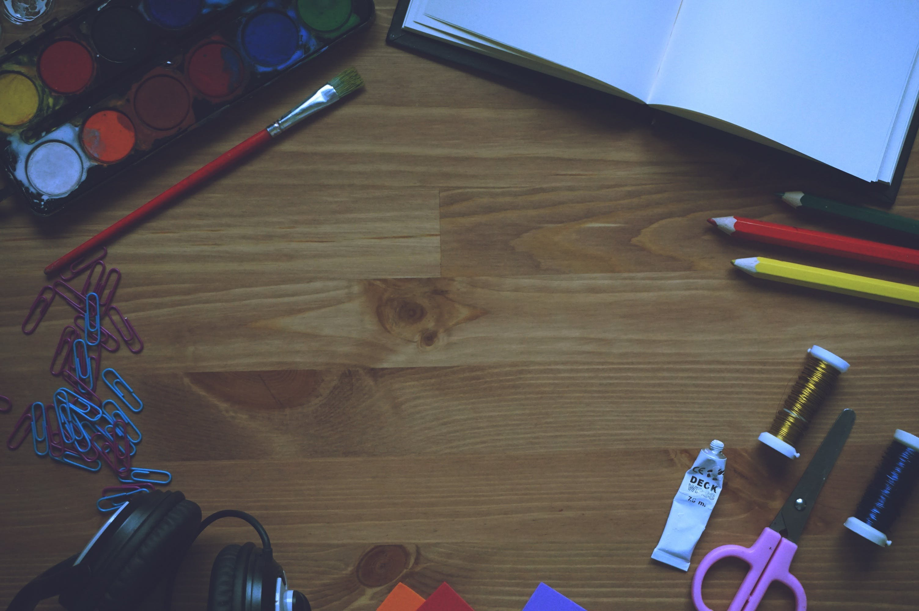 Artwork Materials on Wooden Table