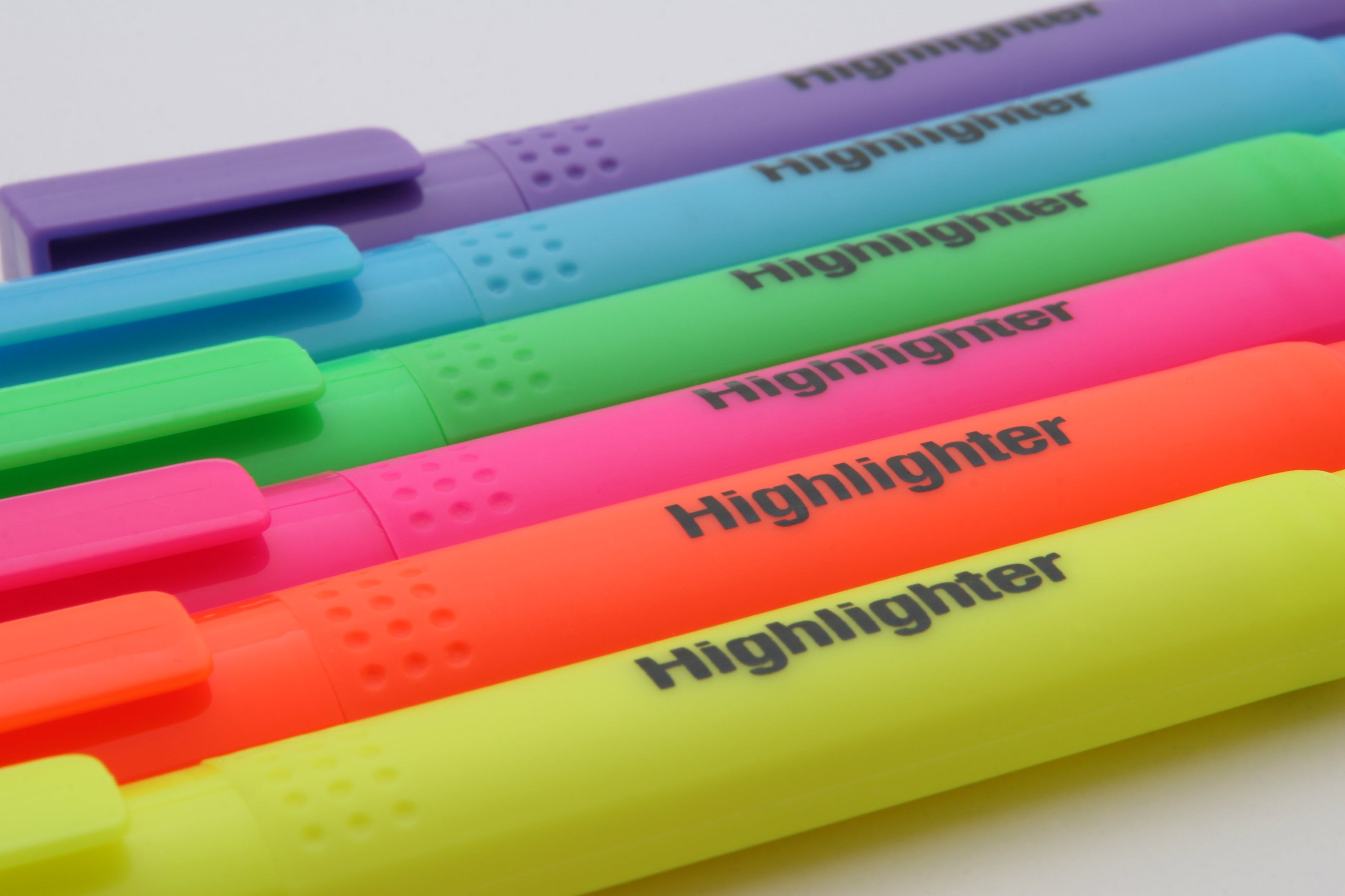 Purple Blue Green Pink Orange and Yellow Highlighter
