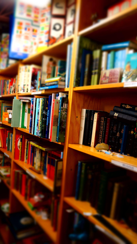 Books in Brown Wooden Shelf Indoors