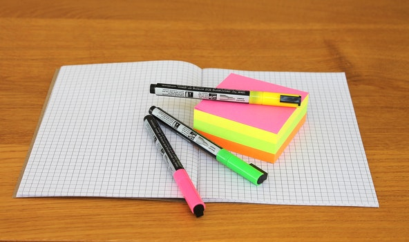 Pink and Green Marker Place on Grafting Paper