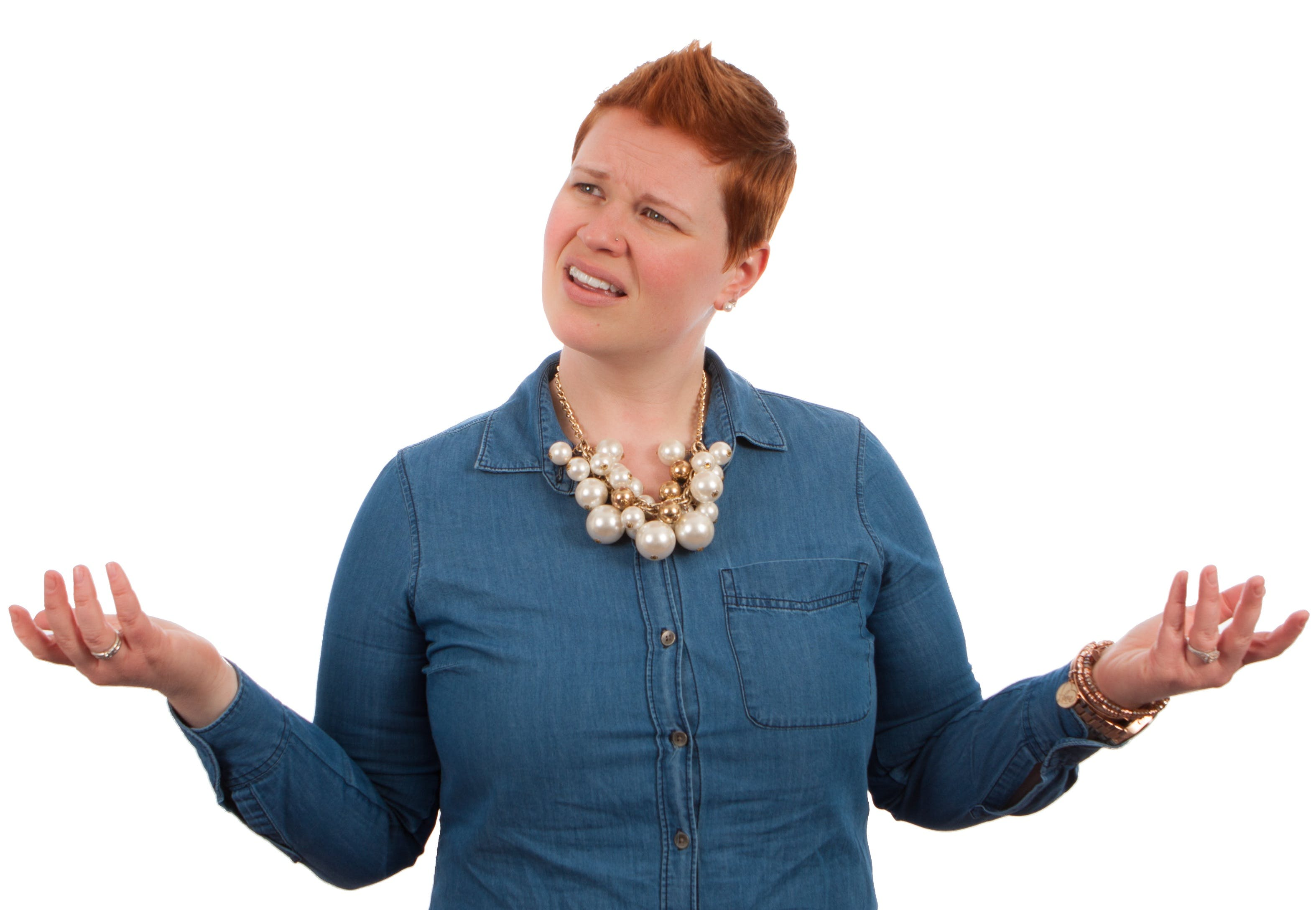 Woman Wearing Blue Button Up Long Sleeve Shirt