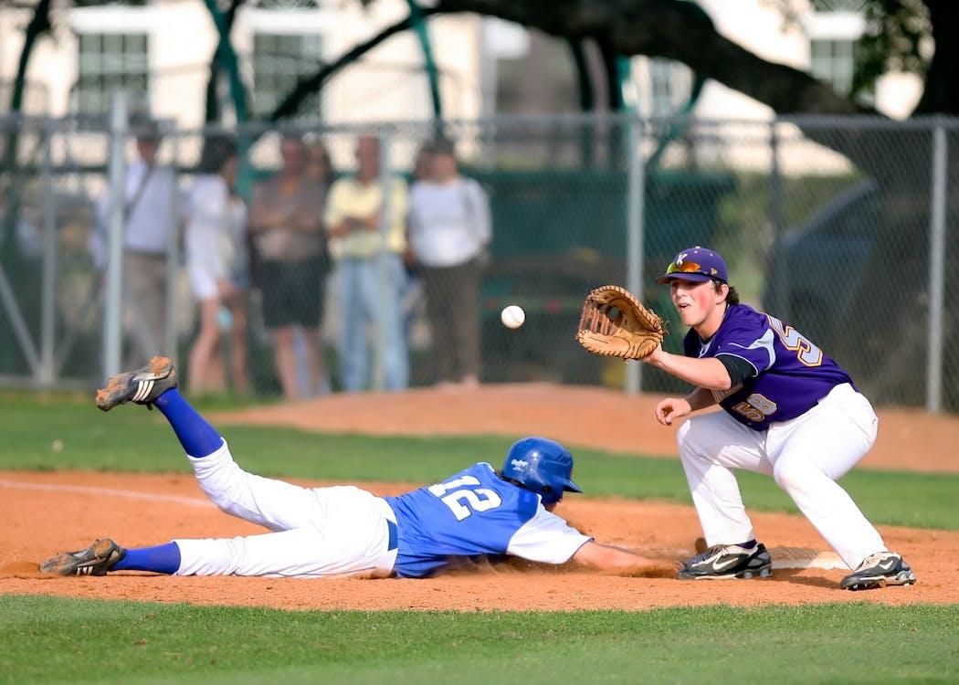 atleti, azione, baseball