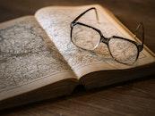 eyewear, book, map