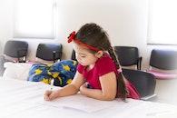 girl, writing, cute