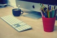 apple, desk, laptop