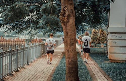Photo of Two Men Walking on Pavement