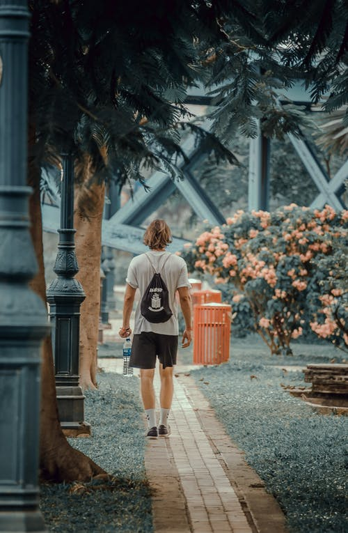 Man Walking on the Pathway in the Park