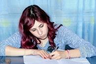 person, girl, writing
