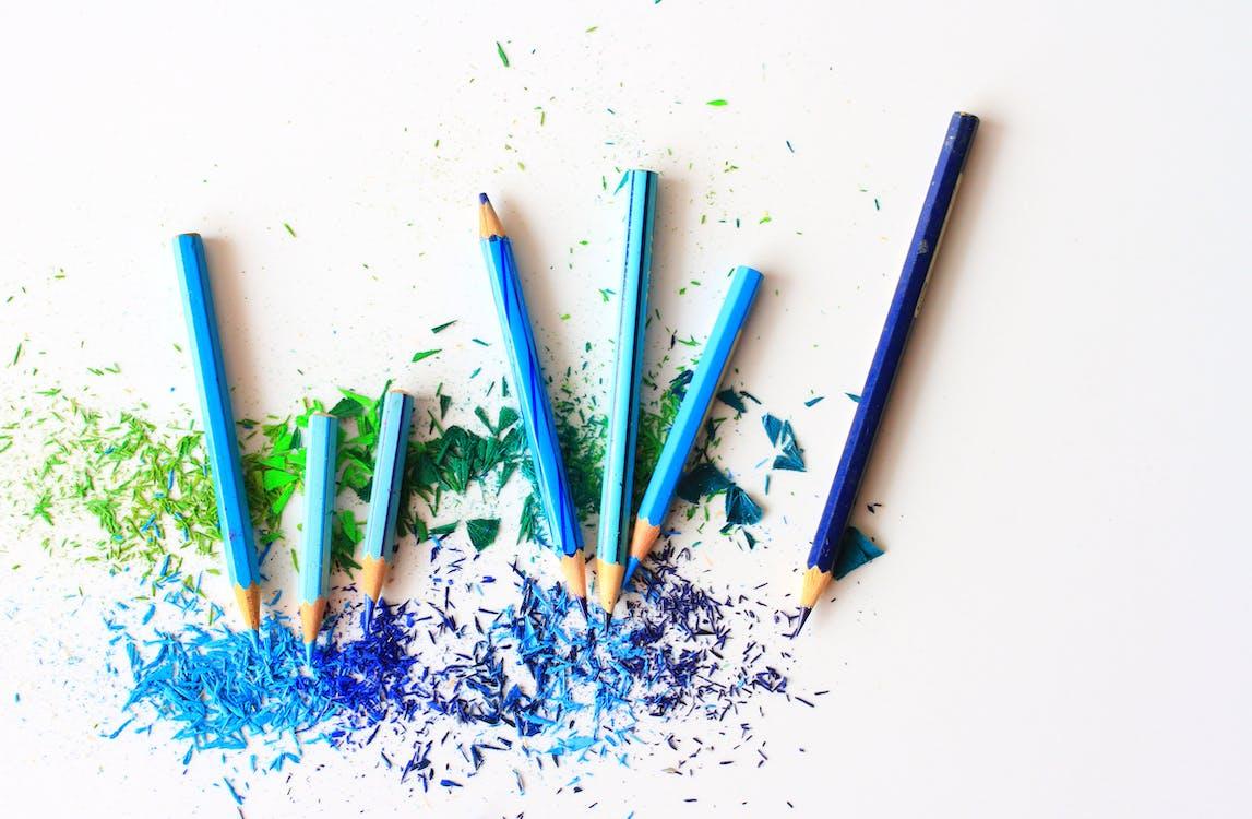 blå, dra, färg