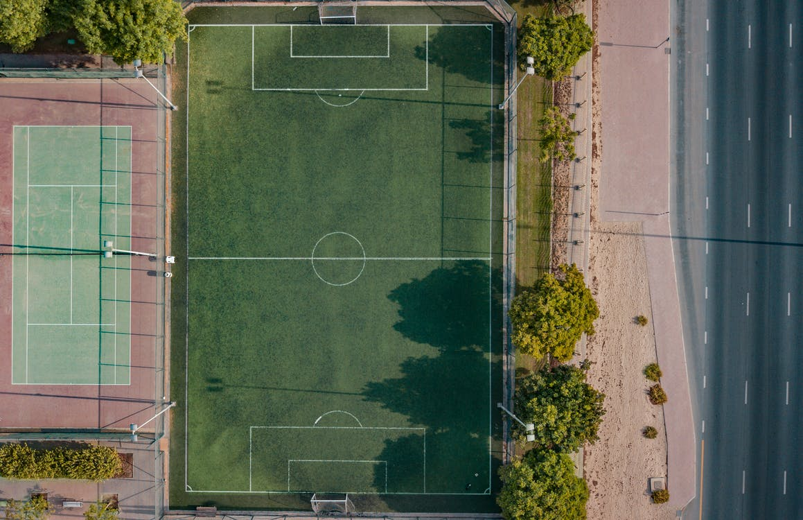 Aerial Photography Basketball Court