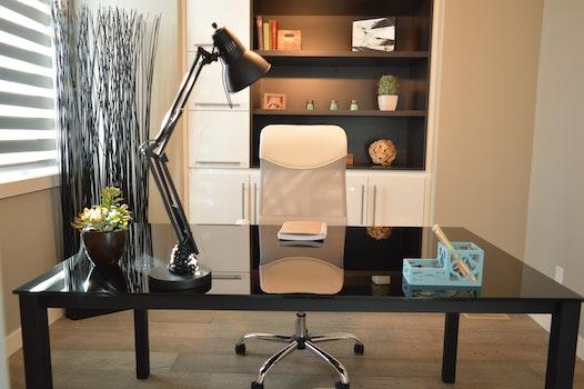 Black Study Lamp on Black Table