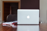 apple, desk, laptop