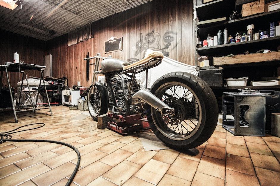 cafe racer, frame, garage