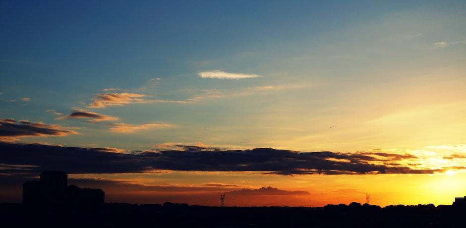 dämmerung, himmel, silhouette
