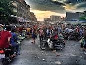 people, street, crowd