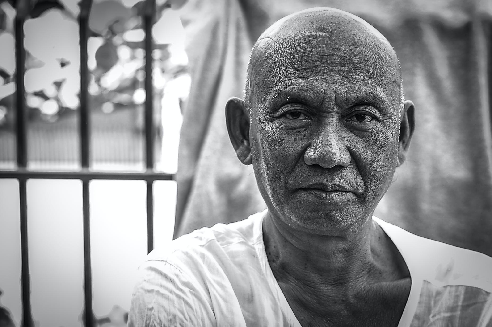 Free stock photo of age, asia, black and white, elder