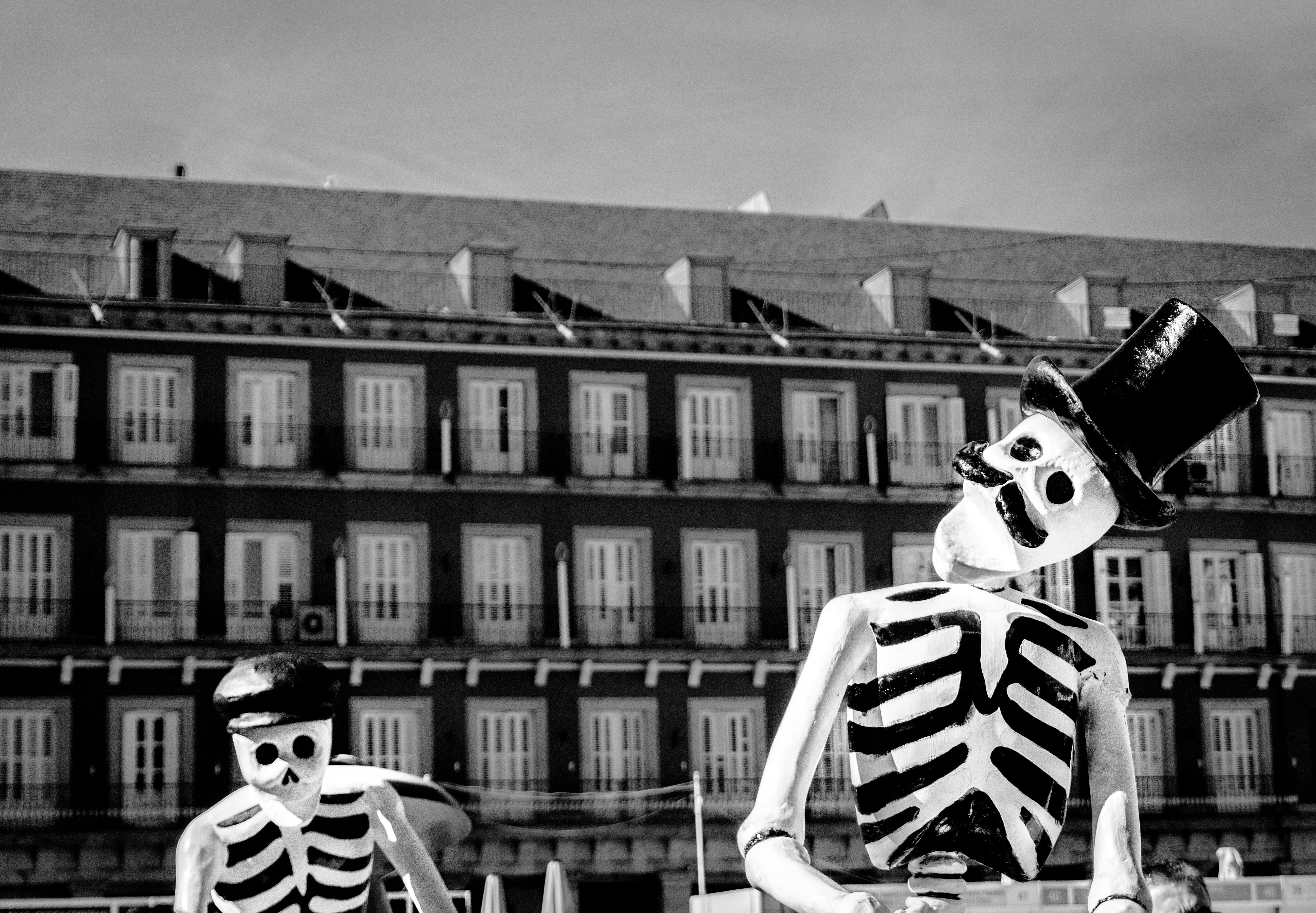 Monochrome Photo of Two Skeleton Wearing Hats