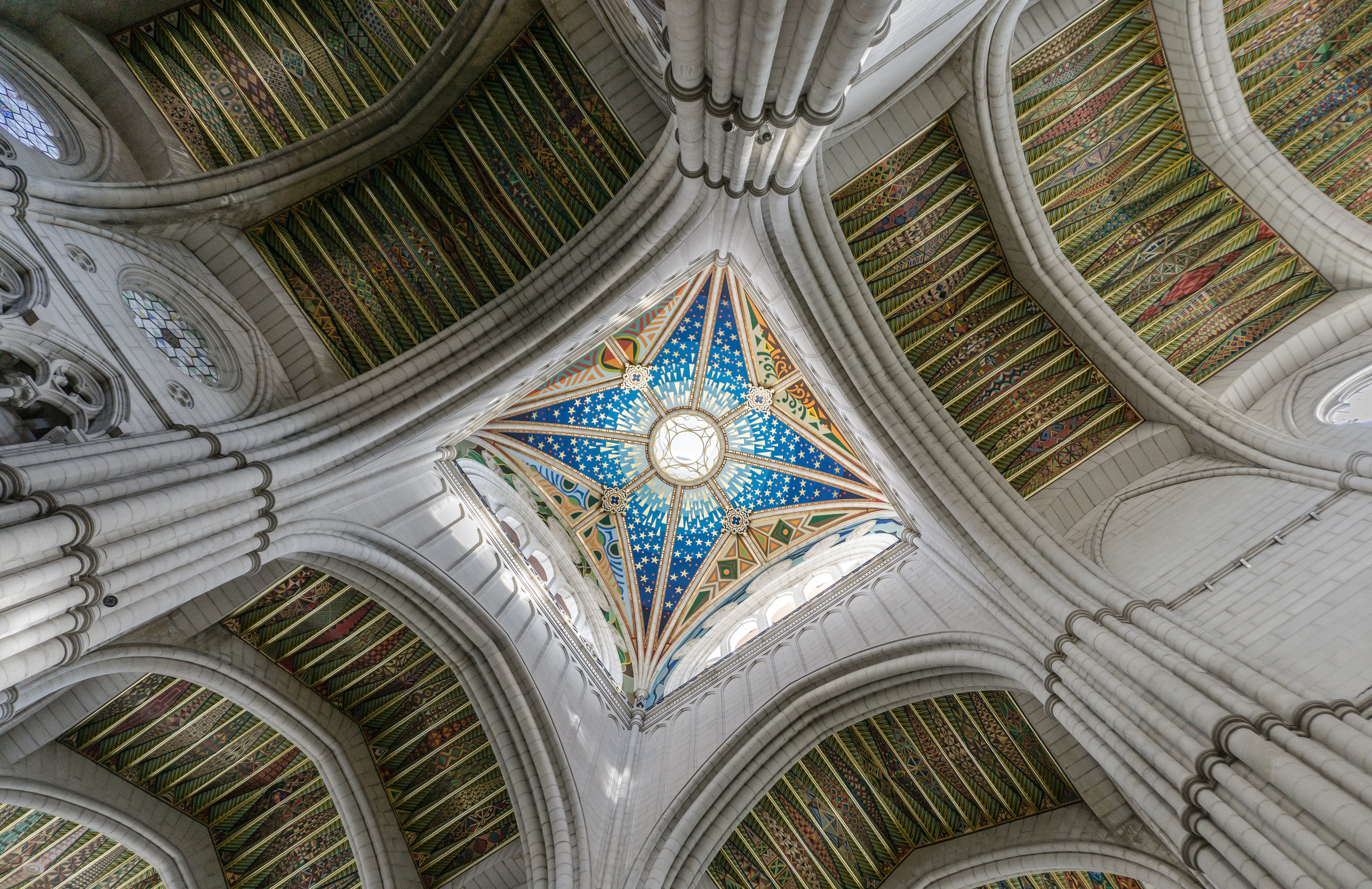 Low Angle Photography of Stained Glass Ceiling