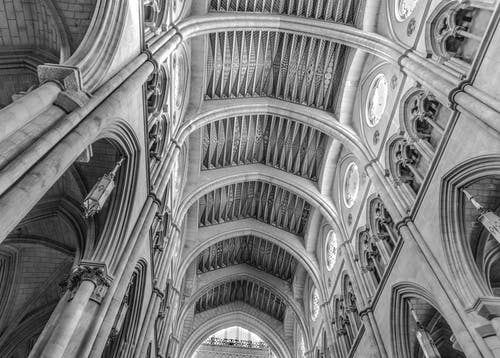 Grayscale Photography of Cathedral Interior