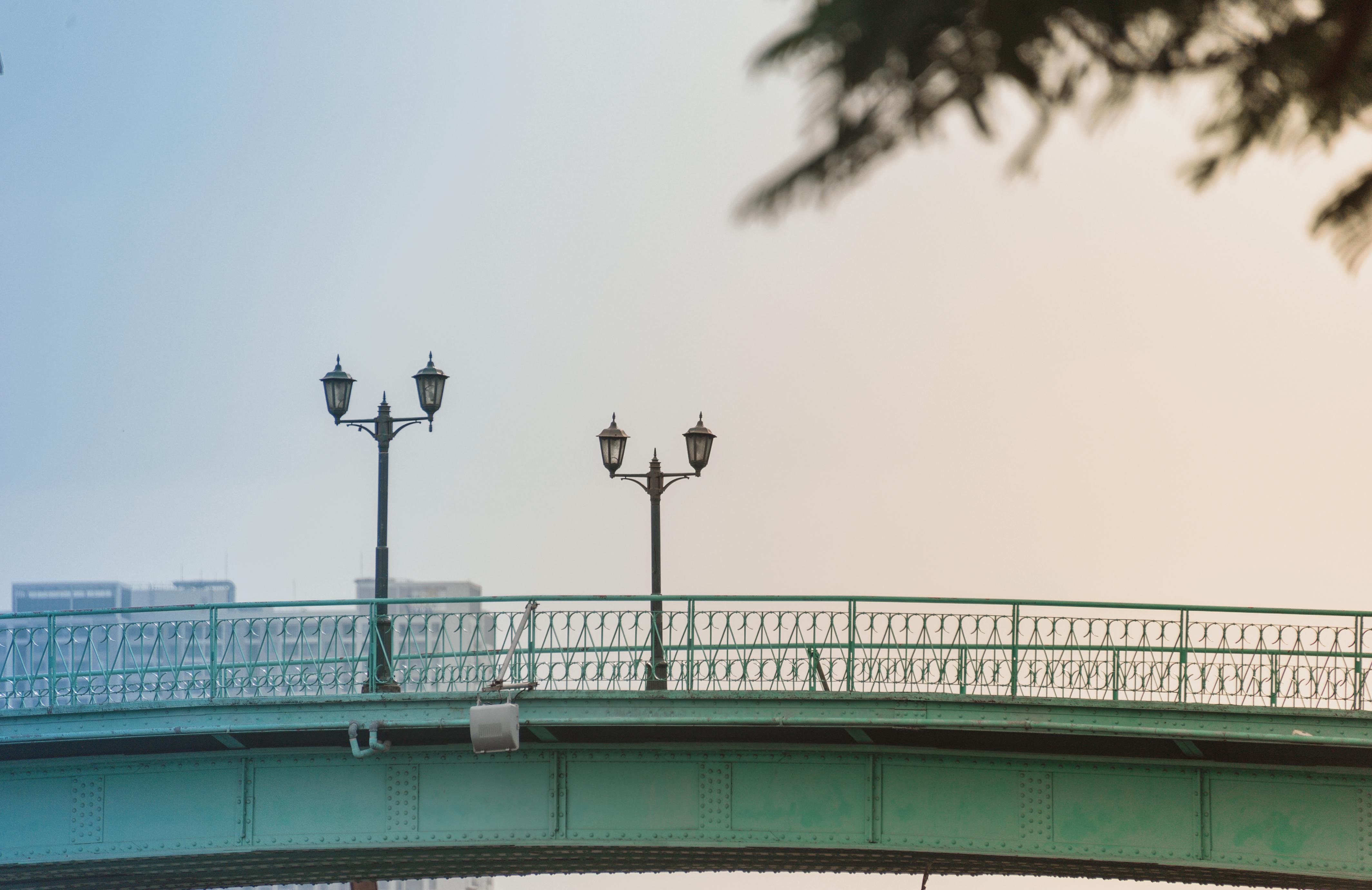 Two Road Lights on Bridge