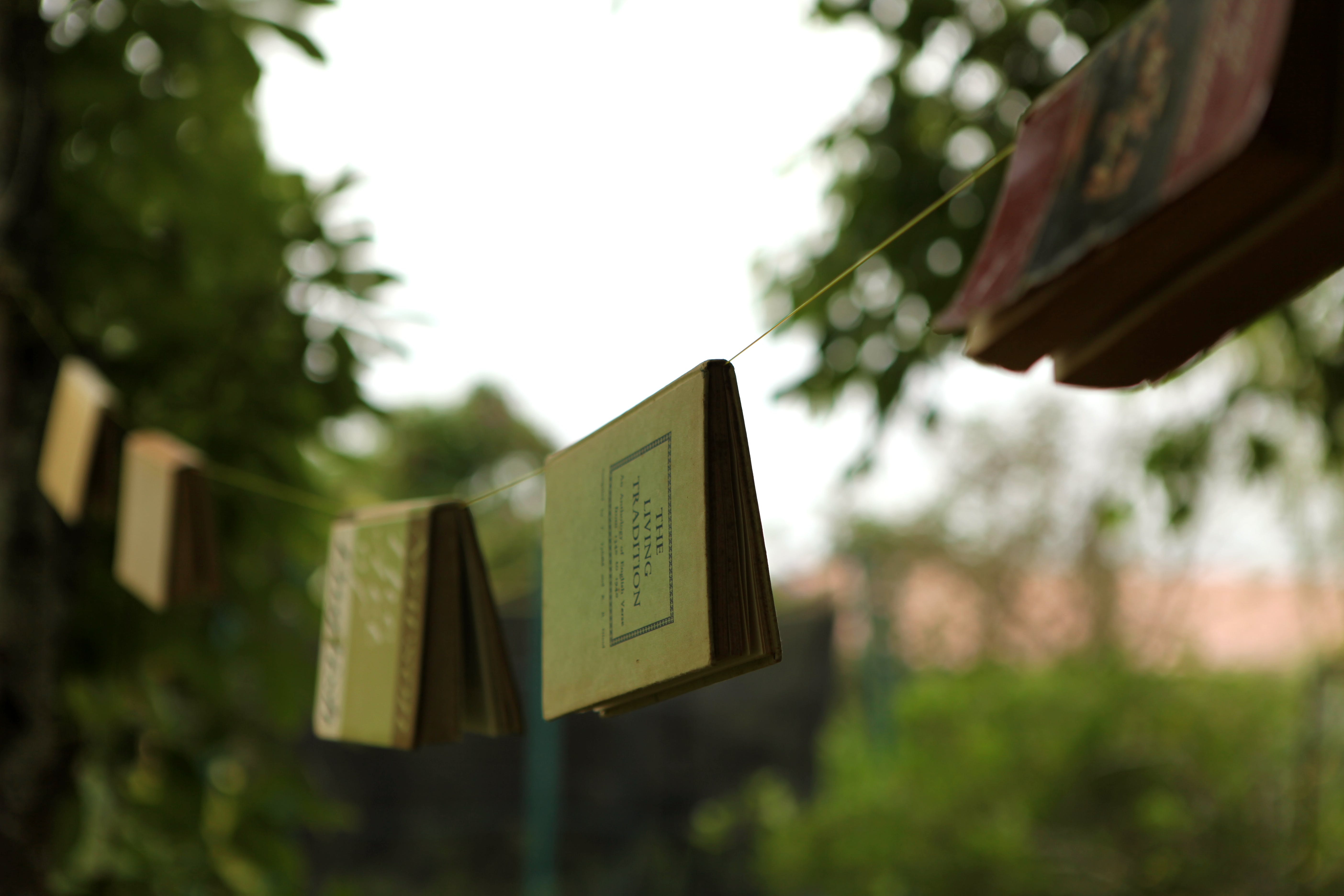 Close-Up Photo of Book Hanging On Clothes Line