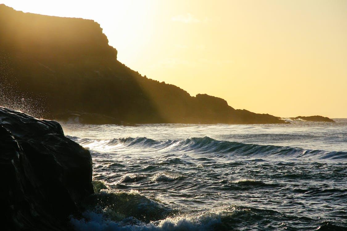 4k-bakgrunnsbilde, bølger, daggry
