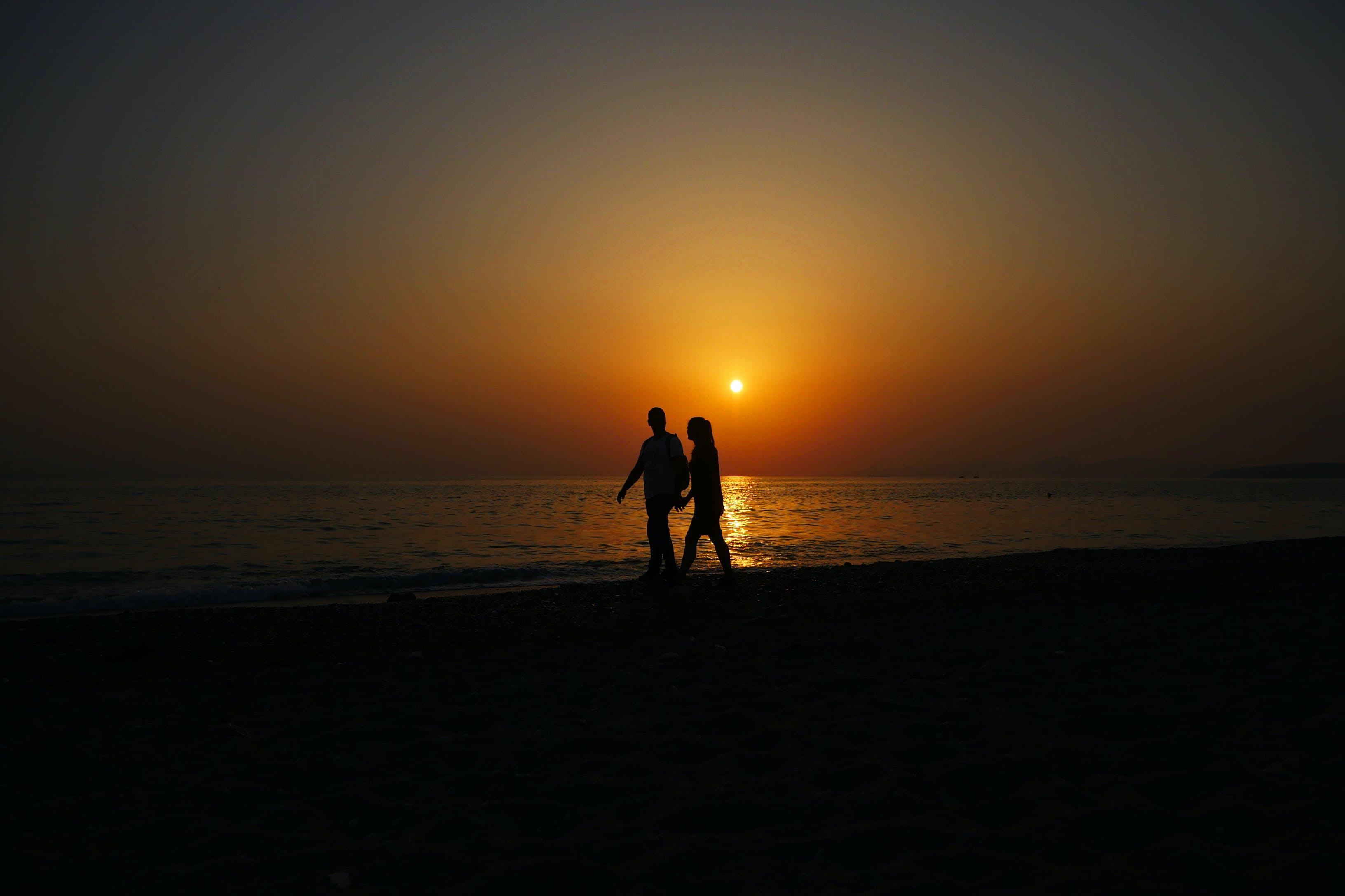 Free stock photo of beach, couple, couple walking, love