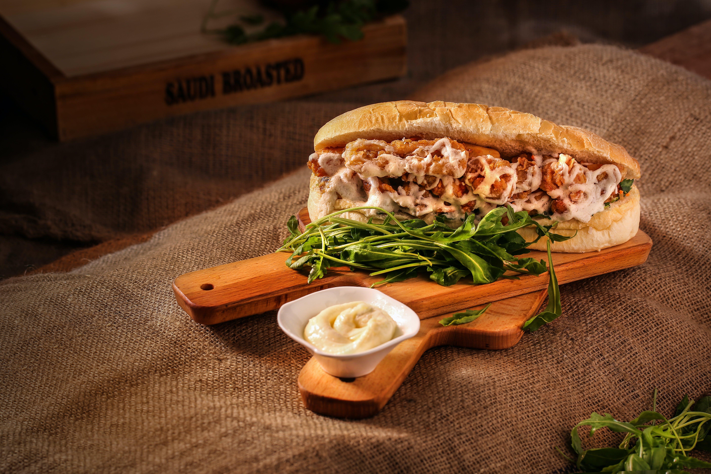 Sandwich On Wooden Chopping Board