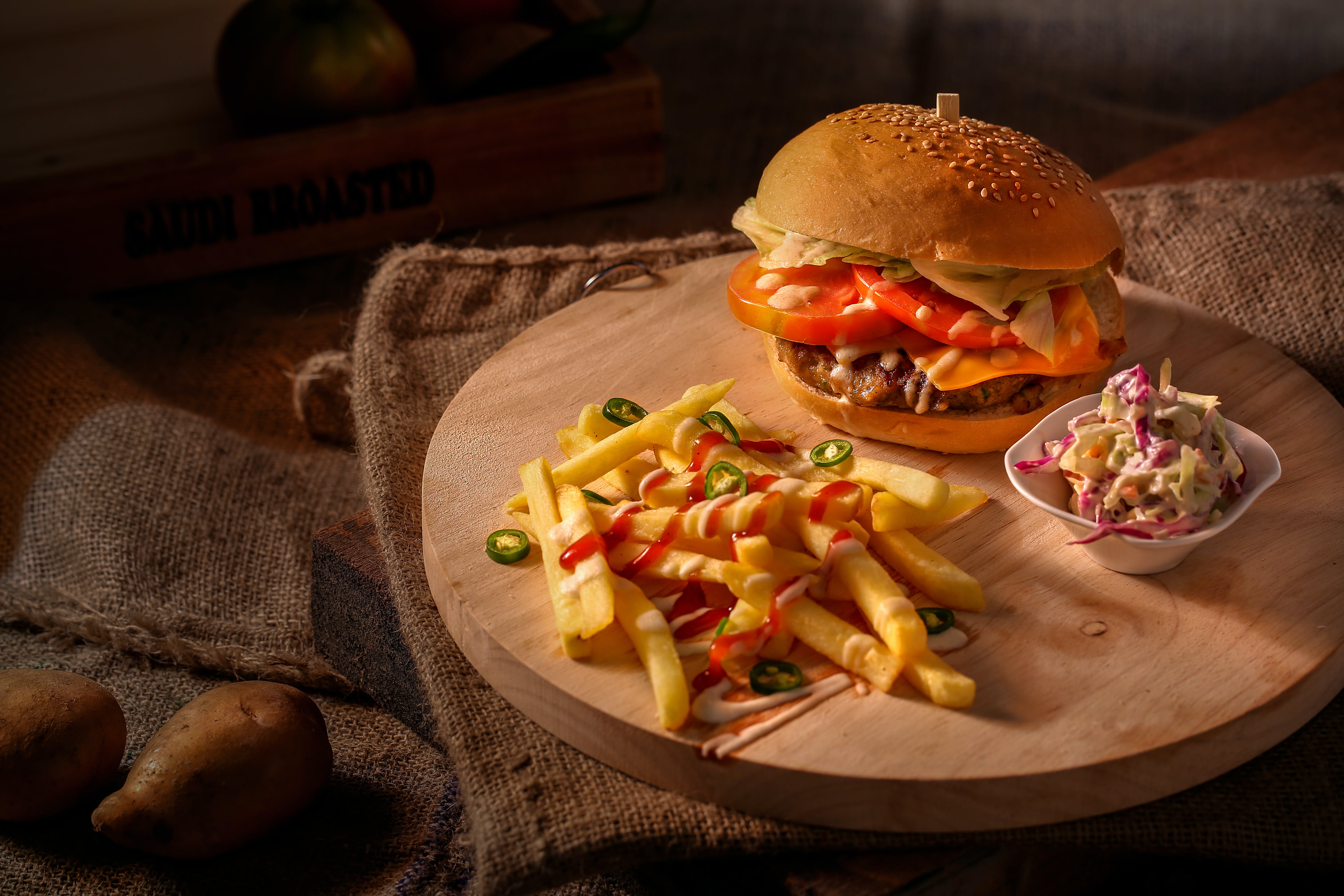 Tomato Burger and Fried Fries