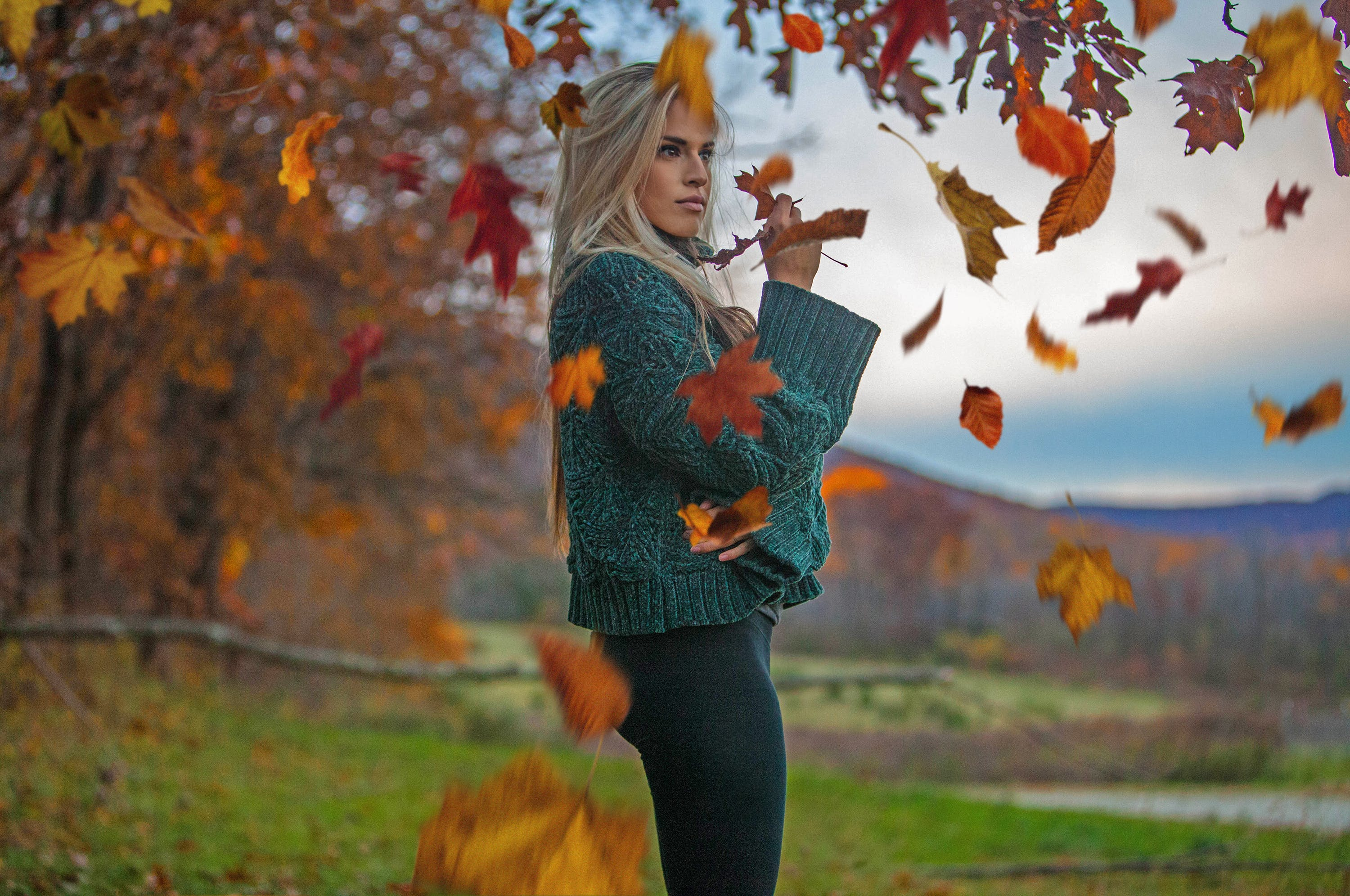 Woman In Teal Knit Sweater Under Maple Tree