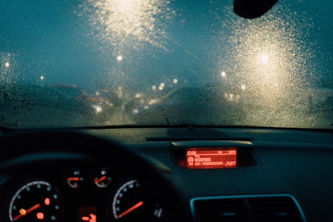 Photo of Windshield During Rainy Weather