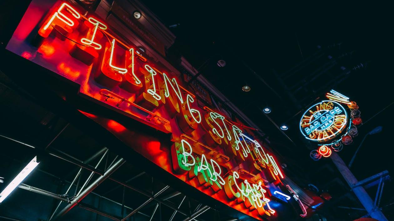 akşam, aydınlatılmış, bar