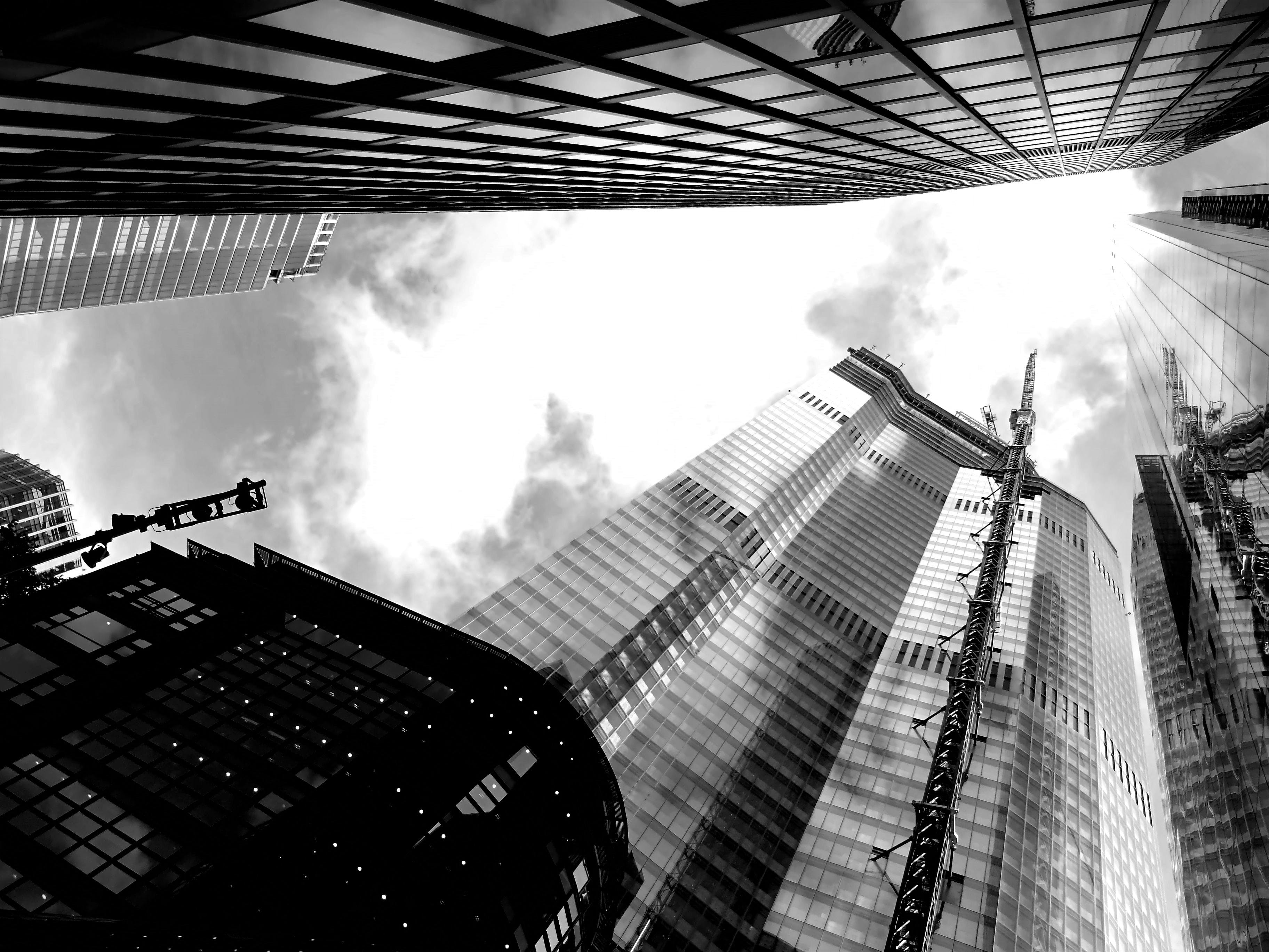 Grayscale Low-angle View of High-rise Building