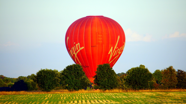 Red Virgin Hot Air Balloon Landscape Photograph