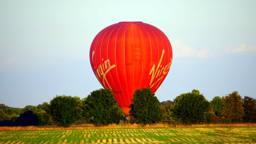 Red Virgin Hot Air Balloon Landscape Photograph