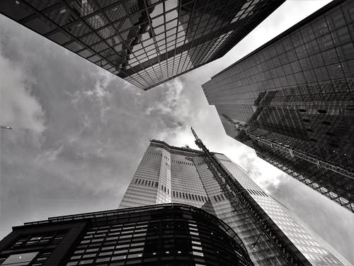 Worm's-view and Grayscale Photography of Curtain Wall Buildings