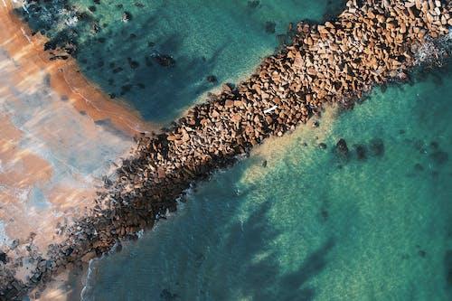 공중 촬영, 바다, 바다 경치, 바위의 무료 스톡 사진
