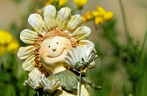 Sunflower With Face Figurine