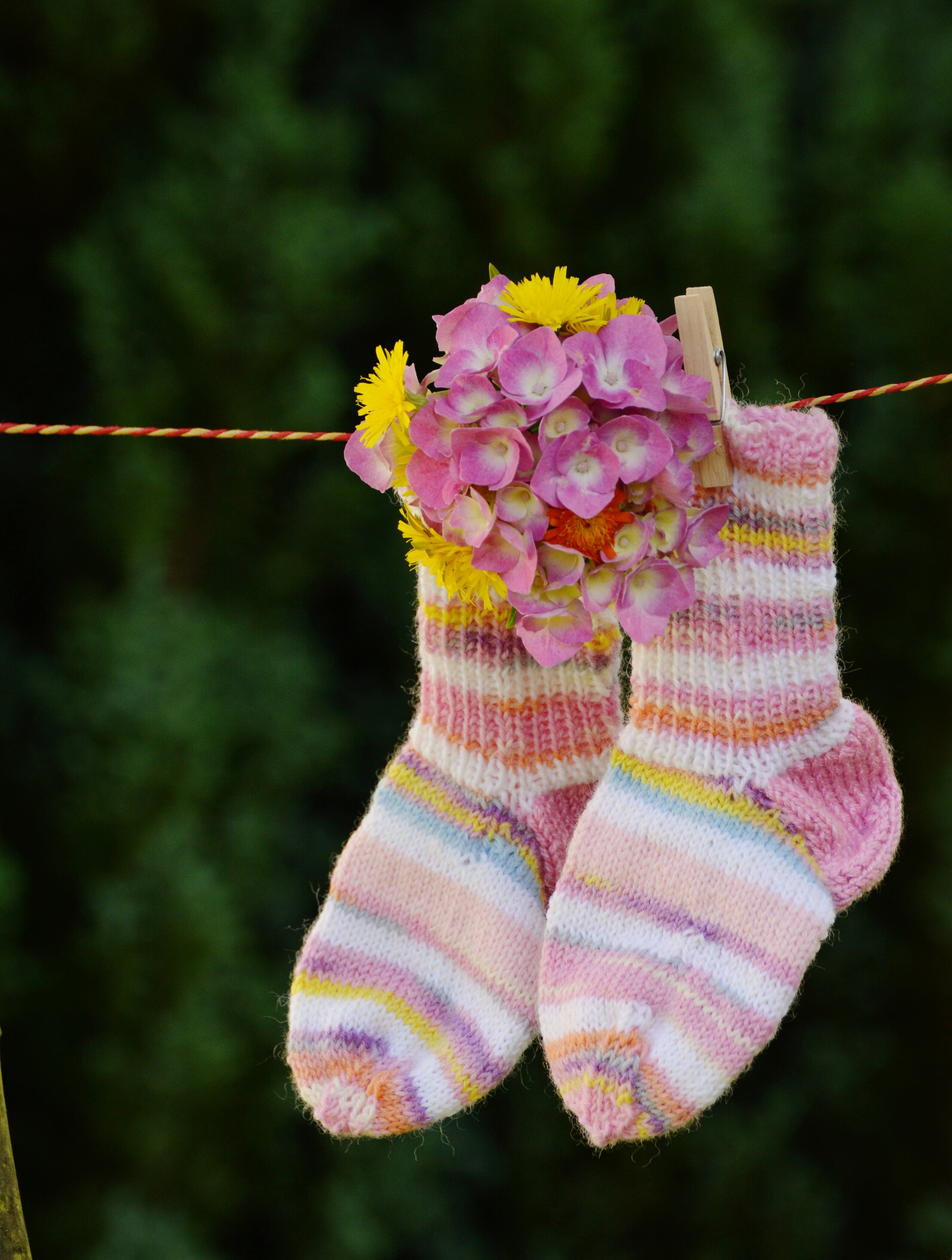 Pink and White Sock With Pink Flower Hanging