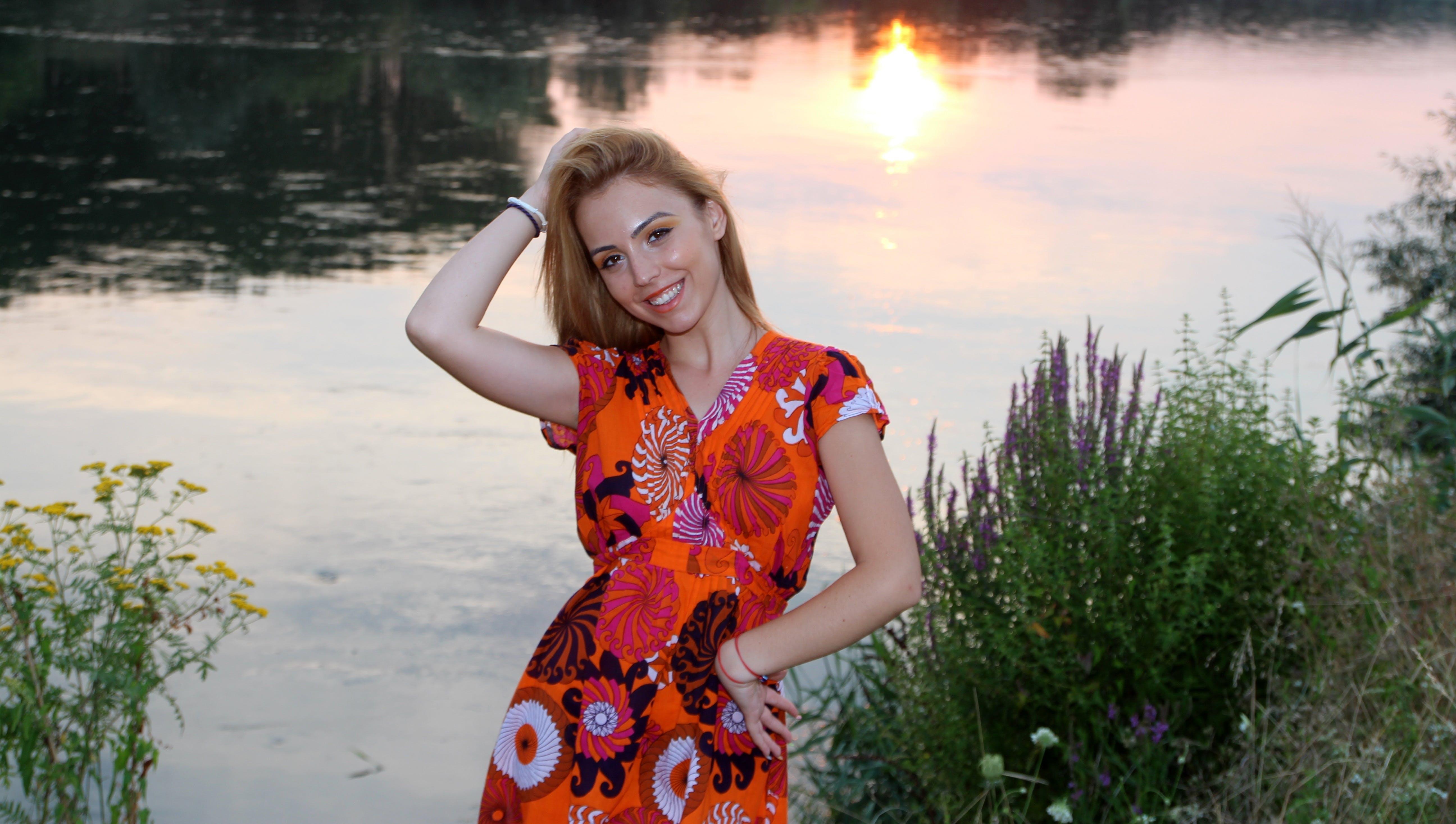 Free stock photo of sunset, water, girl, lake