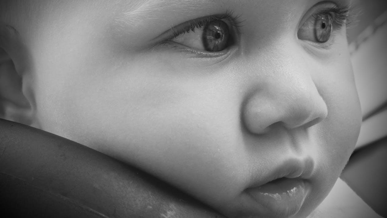 bebé, blanco y negro, infantil